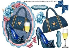 Lovely Topper with blue shoes and bag on Craftsuprint - Add To Basket!