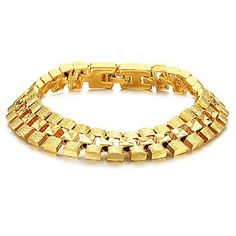 Prime Leader Fashion Jewelry Fashion 18K Gold Plated Powerful Men'S Bracelets Retro High Quality Gp Wristband Chain Link Bangle Classic Gift 7.28 Inch Length * See this great image  : Gift for Guys