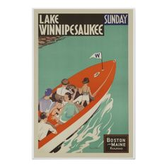 Lake Winnipesaukee Vintage Travel Poster