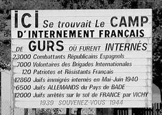 Camp de Gurs panneau mémoriel   «  Gurs, une drôle de syllabe,     comme un sanglot     qui ne sort pas de la gorge. » Louis Aragon
