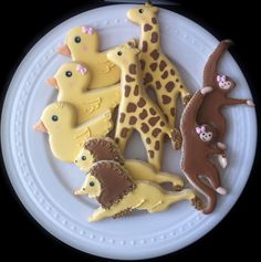 Baby Zoo Animals Decorated Cookies- Perfect for your shower, noah's ark theme party. $42.00, via Etsy.
