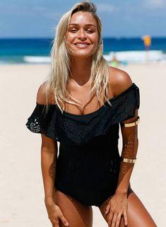 0fd2500615c women's fashion Flounce Off Shoulder One Piece Swimsuit