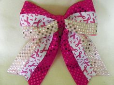Pink and White Breast Cancer Awareness Hairbow by MyBowsPlusMore, $7.00