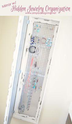 Mirror w/ Hidden Jewelry Organization | this is sooooooo cool!!  | #diy #homeimprovement #homedecor
