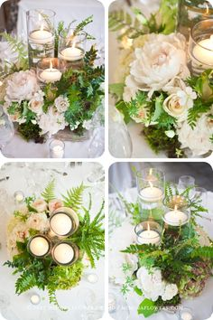 'rough-luxe' look for these centrepieces, we started with a piece of flagstone (yes, a rock!) and built up around the trinity of glass and floating candles using cream and natural coloured florals, miniature ferns, moss and cuttings