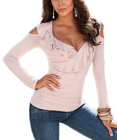 49839742a32 Akery Womens Sexy Flouncing Off Shoulder Long Sleeve Blouses T-shirt Tops