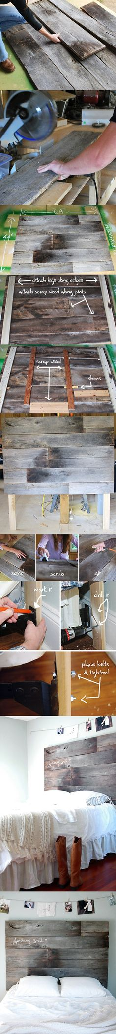 """Homemade Headboard. Idea: what if instead of a rug, we make a wooden slab like this headboard to put over the carpet as an """"area rug"""" kinda look?"""
