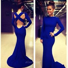 Long Prom Dress, Long Sleeve Prom Dress, Royal Blue Prom Dress, Prom Dress, Simple Prom Dress, Sexy on Luulla