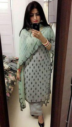 Sewing Embroidery Designs At Home Is Real Fun. Kurti Designs Party Wear, Kurta Designs, Blouse Designs, Dress Designs, Ethnic Outfits, Indian Outfits, Fashion Outfits, Trendy Outfits, Indian Attire