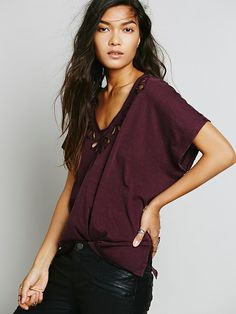 Free People Cutwork Double V Tee, $68.00
