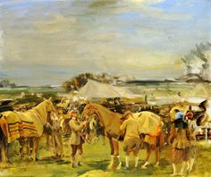 Saddling For The Point To Point by Sir Alfred James Munnings