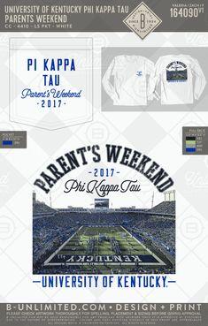 Pi Kappa Tau parent's weekend 2017! #BUonYOU #greek #greektshirts #greekshirts #fraternity #PiKappaTau #parentsweekend Fraternity Shirts, Sorority And Fraternity, Alpha Phi, Kappa, Greek Apparel, Sorority Outfits, Dad Day, University Of Kentucky, Greek Clothing