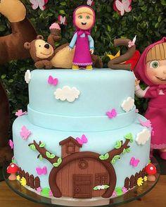 ideas para fiestas masha y el oso Baby Cakes, Baby Birthday Cakes, Girl Cakes, Bear Birthday, Bolo Barbie, Barbie Cake, Fondant Cakes, Cupcake Cakes, Masha Cake