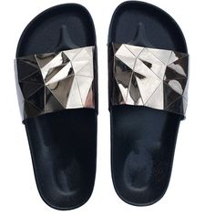 STARGAZER BEACH SLIDES (7.206 KWD) ❤ liked on Polyvore featuring shoes, sandals, metallic shoes, holographic shoes, beach footwear, pewter shoes and metallic sandals