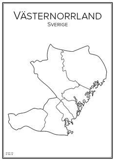Västernorrland. Sweden. Map. City print. Print. Affisch. Tavla. Tryck. Map Art, Sweden, City, Places, Prints, Photos, Travel, Inspiration, Voyage