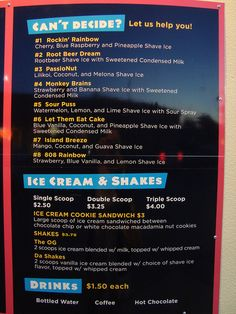 Get Shaved Store Menu by nomsnotbombs, via Flickr