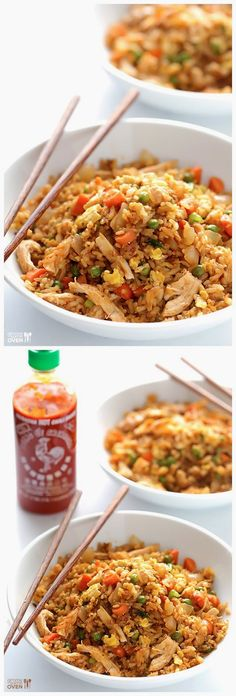 Easy And Quick Recipes Spicy Chicken Fried Rice Korean Menu Quick Recipes, Asian Recipes, Cooking Recipes, Healthy Recipes, Sriracha Recipes, Healthy Meals, Sweet Recipes, I Love Food, Good Food