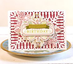 Garden Gate Flourishing happy birthday card by Anna Griffin. Make It Now with the Cricut Explore machine in Cricut Design Space.