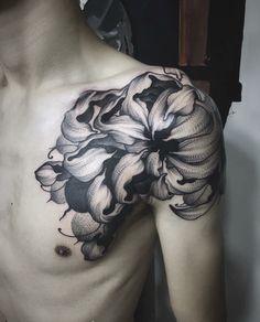 Relindo 4 Tattoo, Dot Work Tattoo, Chest Tattoo, Piercing Tattoo, Body Art Tattoos, Cool Tattoos, Tattoo Negro, Crisantemo Tattoo, Crysanthemum Tattoo