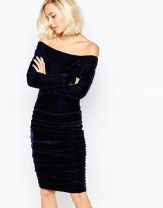 Image 1 of Gestuz Angela Rouched Dress in Royal Blue Velvet