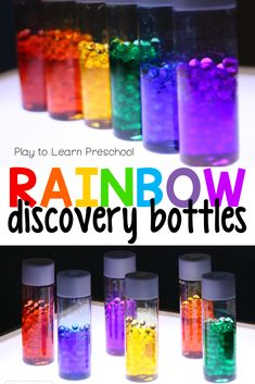 An inexpensive preschool activity from Dollar Store supplies and the recycling bin. Discovery bottles offer preschoolers a calming sensory experience, opportunities for science and fun light table play. Sensory Activities Toddlers, Steam Activities, Color Activities, Infant Activities, Infant Sensory, Class Activities, Therapy Activities, Sensory Bottles, Sensory Bins