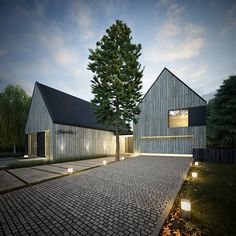 House - B. - Country single family house with barber shop, lubuskie voivodship, Poland. The Effective Pictures W - Contemporary Barn, Contemporary Architecture, Architecture Details, Modern Barn House, Modern House Design, Rural House, House In The Woods, Gable House, Modern Farmhouse Exterior