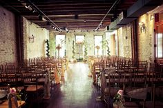 An intimate set up for a wedding ceremony at the Chickory in the Warehouse District of New Orleans.