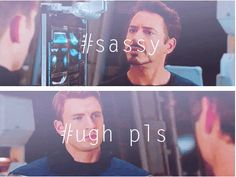 Avengers | 21 Movies Summed Up In One Photo Set Well. This at least sums up Steve and Tony's relationship in this movie XD