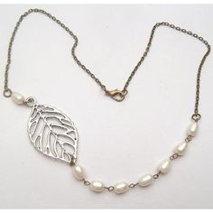 Silver Plated Brass Leaf White Pearl Necklace by gemandmetal