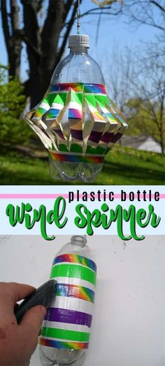 plastic bottle art This wind spinner is made from a recycled plastic bottle and is a great way to keep critters out of your garden. This fun recycled duck tape project is great for k Wind Spinners, Plastic Bottle Crafts, Recycle Plastic Bottles, Recycled Crafts Kids, Fun Crafts, Paper Crafts, Diy Craft Projects, Recycling Projects For Kids, Garden Crafts For Kids