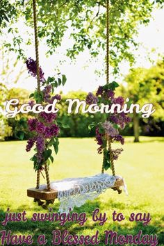 Good Morning just swinging by to say have a Blessed Monday.