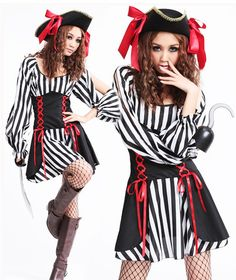 Aliexpress.com : Buy 2013 New Women Adult Caribbean Pirate Black White Stripes Halloween Cosplay Costume Slim Dress Performance clothing Uniform Hat from Reliable 2013 New Sexy Adult Red Pirate Black White Stripes Costume For Women Halloween Clothes Pirate Queen  With Hat/Christmas Uniforms suppliers on Women's Fashion Clothing  Dress Shop $26.59