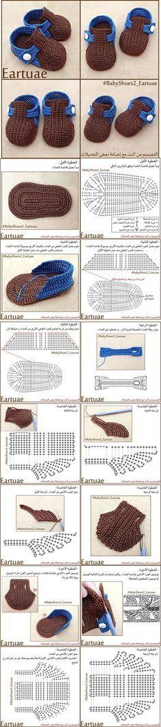 Crochet Booties -Chart ❥ 4U hilariafina http://www.pinterest.com/hilariafina/