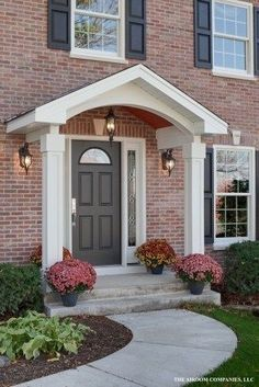 Ideas house styles exterior colonial porticos for 2019 – Decorating Foyer Front Door Awning, Porch Awning, House Front Porch, Front Stoop, Front Porch Design, Front Door Entrance, Porch Roof, Front Entrances, Patio Awnings