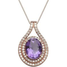 Lord & Taylor 14K Rose Gold Amethyst and Diamond Pendant Necklace (3.205 RON) ❤ liked on Polyvore featuring jewelry, necklaces, red gold necklace, pendants & necklaces, amethyst stone necklace, 14k rose gold necklace y rose gold pendant necklace