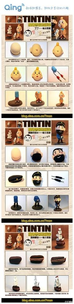 Tintin and Captain Haddock Tutorial for Fimo, Polymer Clay, Fondant or Gum Paste by lana Polymer Clay People, Polymer Clay Dolls, Polymer Clay Projects, Sculpting Tutorials, Clay Tutorials, Pasta Fimo, Biscuit, Fondant Figures Tutorial, Cute Clay