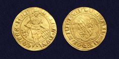 Goudgulden van Willem van Beieren als Graaf Willem V van Holland, geslagen 1350-1389.  Willem V verleende Naarden haar stadsrechten in 1355.