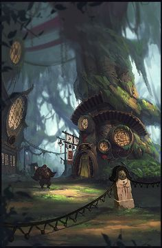 scene forest village hobbit elf wood Big Ball Gao - Forest Inn
