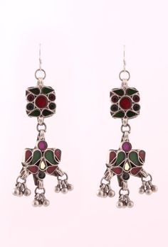 Multi-color Glass Silver Earring - An ethereal collection of Vintage glass silver jhumkas by Silver Lining that will adorn any outfit in this season of festivities.