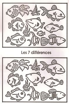 jeu des 7 différences Therapy Activities, Preschool Activities, Easy Science Projects, Ocean Crafts, Hidden Pictures, Activity Sheets, Pre School, Perception, Coloring Pages