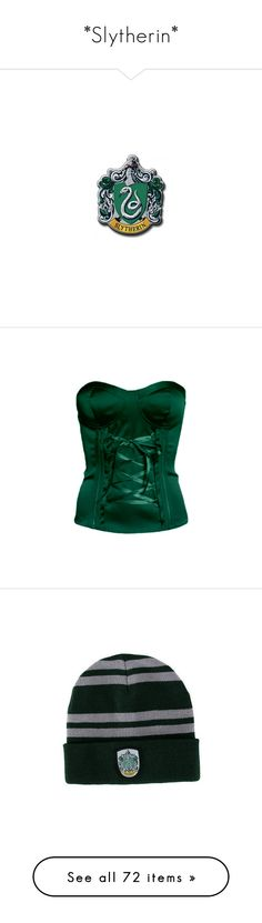 """""""*Slytherin*"""" by pecio-chan ❤ liked on Polyvore featuring harry potter, slytherin, hogwarts, other, hp, fillers, corsets, tops, shirts and blusas"""