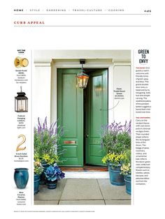 Green to Envy - Stylish Looks for Front Entry Doors - Southern Living Green Front Doors, Front Door Colors, Door Entryway, Entrance Doors, House Entrance, Doorway, Exterior Paint, Exterior Design, Exterior Doors