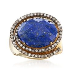 Ross-Simons - Lapis, t. Champagne Diamond Ring Oval Cut in Yellow Gold Over Sterling. Diamond Gemstone, Diamond Jewelry, Gemstone Jewelry, Champagne Diamond Rings, Walmart Jewelry, Bohemian Rings, Blue Topaz Ring, Vintage Costume Jewelry, Custom Jewelry