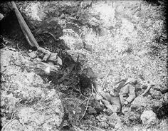 The bodies of German soldiers in a shell hole near Thiepval, France (July 1916)