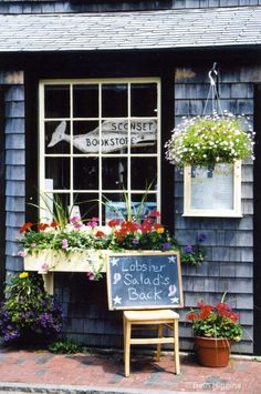 The Sconset Bookstore, Nantucket Island, Massachusetts. Siasconset ('Sconset) is at the eastern end of Nantucket island with an elevation of 52 feet, and a population of 205 at the 2010 census. Nantucket Style, Nantucket Island, Nantucket Wedding, Rhode Island, New Hampshire, Vermont, Maine, Window Boxes, Store Fronts
