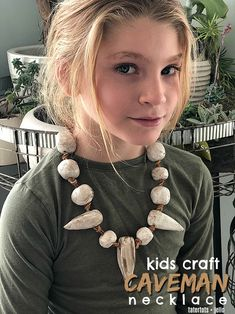 Kids Clay Caveman Necklace - make clay necklaces with your kids. They will love creating whimsical necklaces out of clay! Caveman Costume, Archaeology For Kids, Diy For Kids, Crafts For Kids, Prehistoric Age, Stone Age Art, Kids Clay, Kids Necklace, Creative Play
