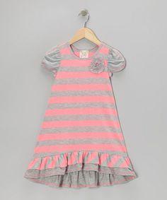 Pink & Gray Stripe Ruffle Dress - Girls #zulily #zulilyfinds