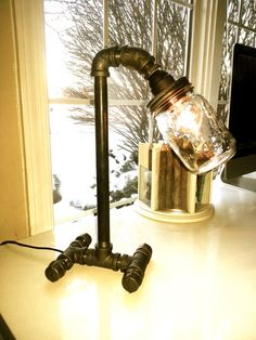Black pipe steampunk pipe lamp edison bulb for Painting black iron pipe