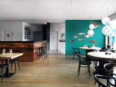 MAR is a restaurant located by the Reykjavík harbour. HAFstudio is responsible for the concept, interior and graphic design of the restaurant. Commercial Design, Commercial Interiors, Cafe Design, House Design, Studio Design, Cozy Restaurant, Seafood Restaurant, Lunch Room, Restaurant Interior Design