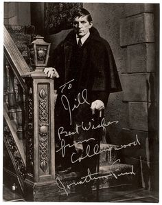 This 8 x 10 inch color photo from the horror tv series Dark Shadows has been hand-signed in person by star Jonathan Frid as the vampire Barnabas Collins